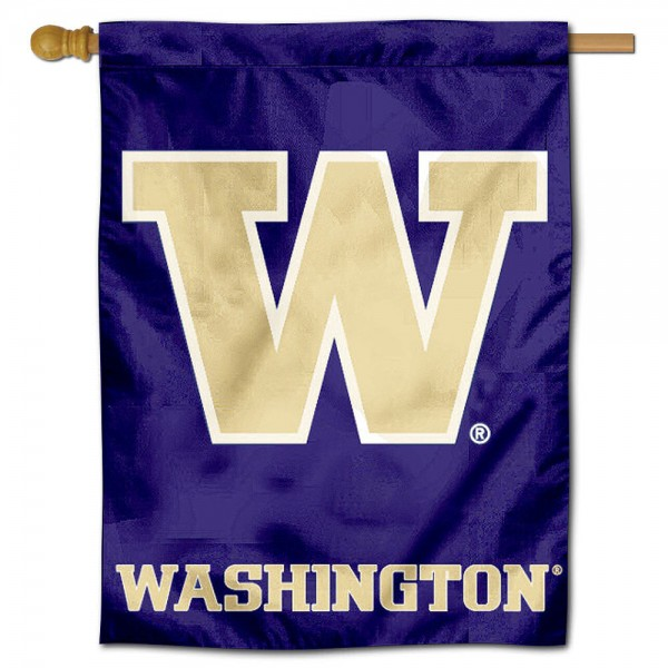 "University of Washington Decorative Flag is constructed of polyester material, is a vertical house flag, measures 30""x40"", offers screen printed athletic insignias, and has a top pole sleeve to hang vertically. Our University of Washington Decorative Flag is Officially Licensed by University of Washington and NCAA."