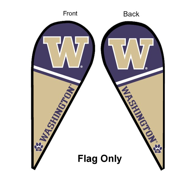 University of Washington Feather Flag is 9 feet by 3 feet and is a tall 10' when fully assembled. The feather flag is made of thick polyester and is readable and viewable on both sides. The screen printed Washington Huskies double sided logos are NCAA Officially Licensed and is Team and University approved.