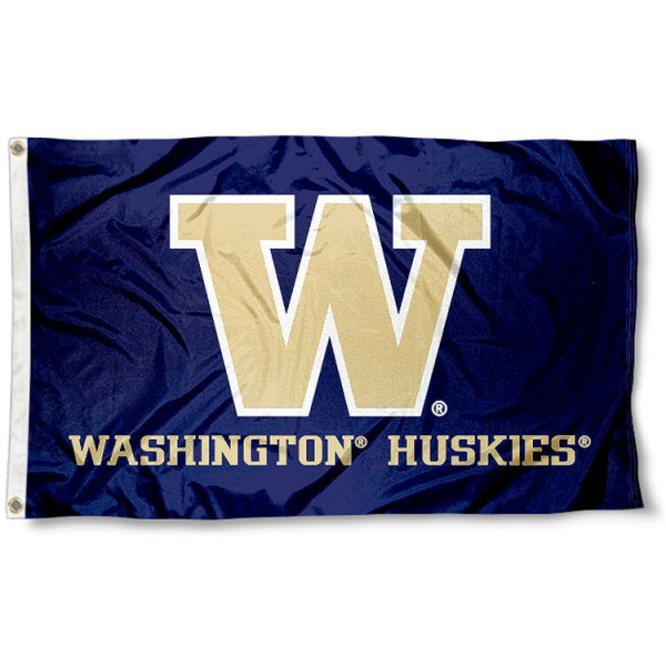University of Washington Flag measures 3'x5', is made of 100% poly, has quadruple stitched sewing, two metal grommets, and has double sided University of Washington logos. Our University of Washington Flag is officially licensed by the selected university and the NCAA