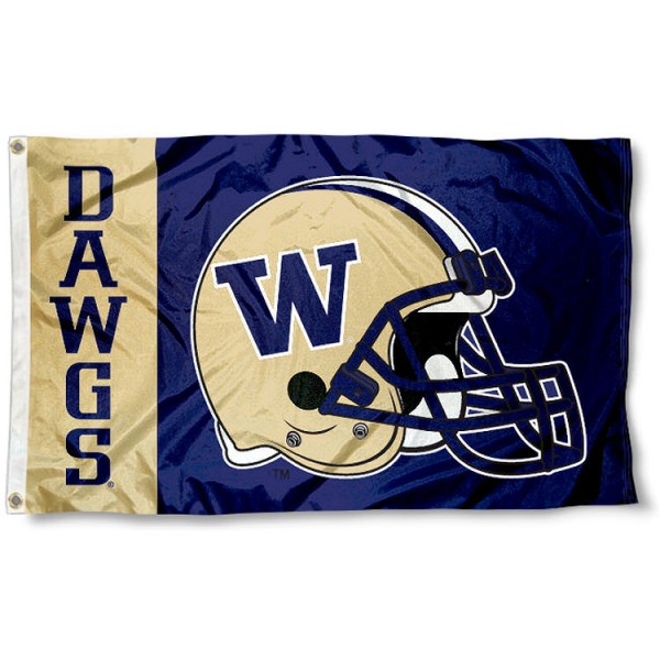 University of Washington Football Flag measures 3'x5', is made of 100% poly, has quadruple stitched sewing, two metal grommets, and has double sided University of Washington logos. Our University of Washington Football Flag is officially licensed by the selected university and the NCAA