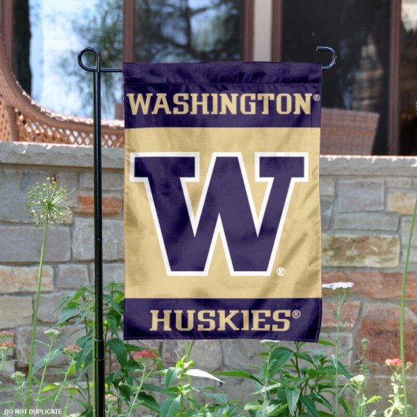 University of Washington Garden Flag is 13x18 inches in size, is made of 2-layer polyester, screen printed University of Washington athletic logos and lettering. Available with Same Day Express Shipping, Our University of Washington Garden Flag is officially licensed and approved by University of Washington and the NCAA.