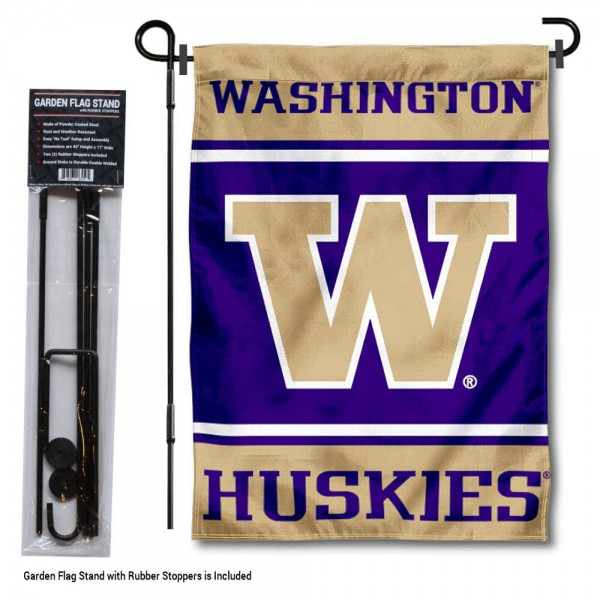 """University of Washington Garden Flag and Stand kit includes our 13""""x18"""" garden banner which is made of 2 ply poly with liner and has screen printed licensed logos. Also, a 40""""x17"""" inch garden flag stand is included so your University of Washington Garden Flag and Stand is ready to be displayed with no tools needed for setup. Fast Overnight Shipping is offered and the flag is Officially Licensed and Approved by the selected team."""