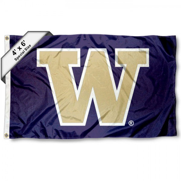 University of Washington Large 4x6 Flag measures 4x6 feet, is made thick woven polyester, has quadruple stitched flyends, two metal grommets, and offers screen printed NCAA University of Washington Large athletic logos and insignias. Our University of Washington Large 4x6 Flag is officially licensed by University of Washington and the NCAA.