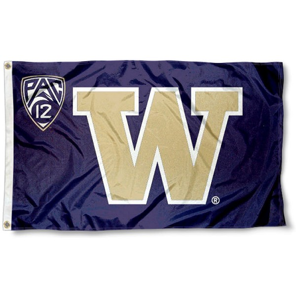 University of Washington Pac 12 Flag measures 3'x5', is made of 100% poly, has quadruple stitched sewing, two metal grommets, and has double sided Team University logos. Our University of Washington Pac 12 Flag is officially licensed by the selected university and the NCAA.