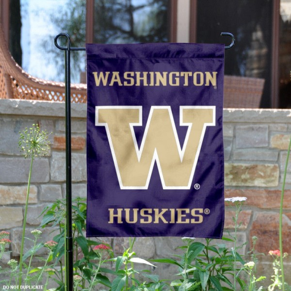 University of Washington Purple Garden Flag is 13x18 inches in size, is made of 2-layer polyester, screen printed university athletic logos and lettering, and is readable and viewable correctly on both sides. Available same day shipping, our University of Washington Purple Garden Flag is officially licensed and approved by the university and the NCAA.