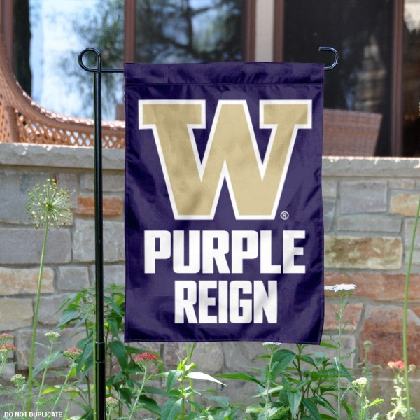 University of Washington Purple Reign Garden Flag is 13x18 inches in size, is made of 2-layer polyester, screen printed university athletic logos and lettering, and is readable and viewable correctly on both sides. Available same day shipping, our University of Washington Purple Reign Garden Flag is officially licensed and approved by the university and the NCAA.