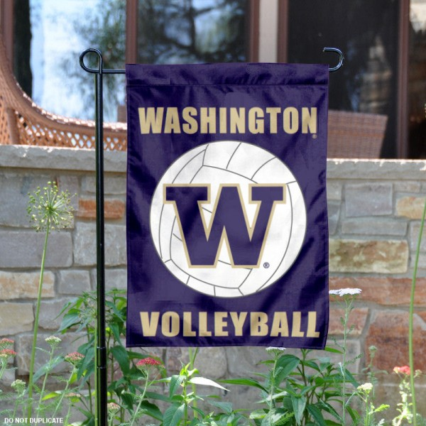 University of Washington Volleyball Yard Flag is 13x18 inches in size, is made of 2-layer polyester, screen printed Washington Huskies Volleyball athletic logos and lettering. Available with Same Day Express Shipping, Our University of Washington Volleyball Yard Flag is officially licensed and approved by Washington Huskies Volleyball and the NCAA.