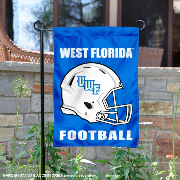 University of West Florida Football Helmet Garden Banner is 13x18 inches in size, is made of 2-layer polyester, screen printed University of West Florida athletic logos and lettering. Available with Same Day Express Shipping, Our University of West Florida Football Helmet Garden Banner is officially licensed and approved by University of West Florida and the NCAA.