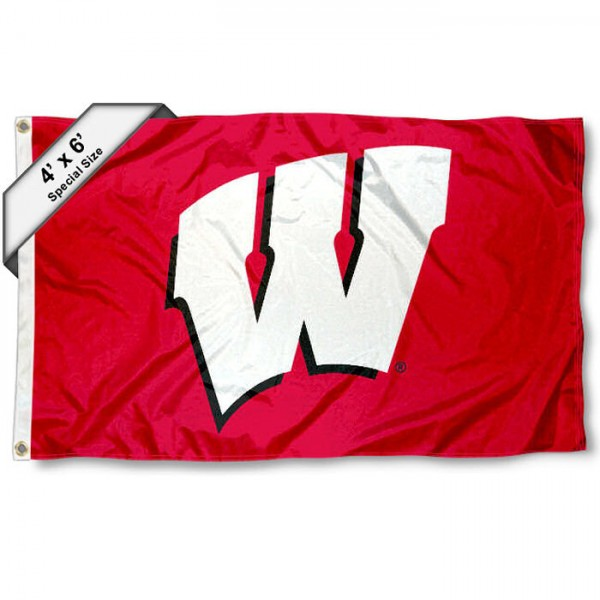 University of Wisconsin 4x6 Flag measures 4x6 feet, is made thick woven polyester, has quadruple stitched flyends, two metal grommets, and offers screen printed NCAA University of Wisconsin athletic logos and insignias. Our University of Wisconsin 4x6 Flag is officially licensed by University of Wisconsin and the NCAA.