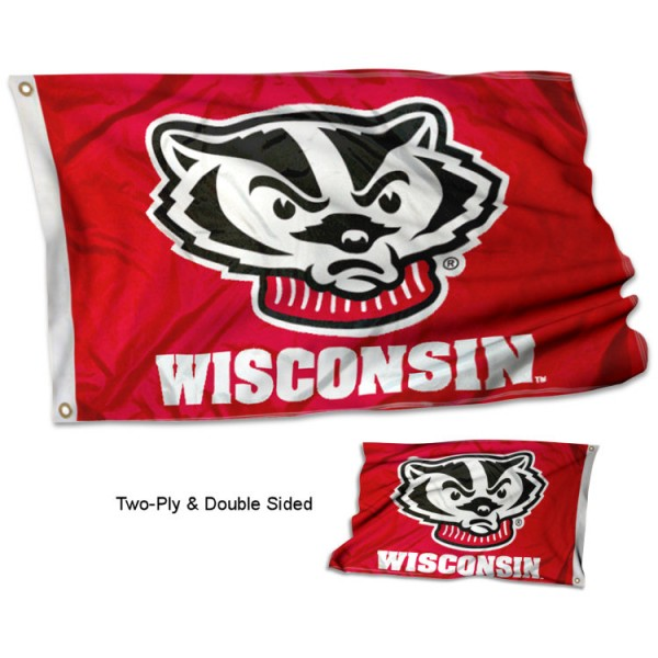 University of Wisconsin Badgers Flag measures 3'x5', is made of 2 layer 100% polyester, has quadruple stitched flyends for durability, and is readable correctly on both sides. Our University of Wisconsin Badgers Flag is officially licensed by the university, school, and the NCAA