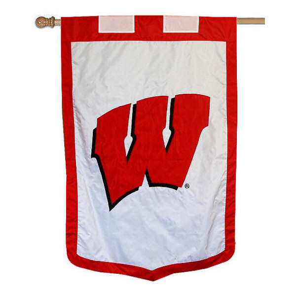 University of Wisconsin Banner Flag measures 35x52 inches, is made of 100% thick nylon, offers embroidered NCAA team insignias, and has a top pole sleeve to hang vertically. Our University of Wisconsin Banner Flag is officially licensed by the selected university and the NCAA