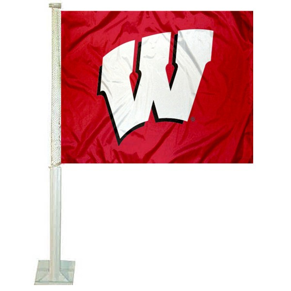 University of Wisconsin Car Window Flag measures 12x15 inches, is constructed of sturdy 2 ply polyester, and has dye sublimated school logos which are readable and viewable correctly on both sides. University of Wisconsin Car Window Flag is officially licensed by the NCAA and selected university.