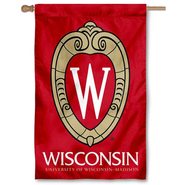 University of Wisconsin Crest Logo House Banner is a vertical house flag which measures 30x48 inches, is made of 2 ply 100% polyester, offers dye sublimated NCAA team insignias, and has a top pole sleeve to hang vertically. Our University of Wisconsin Crest Logo House Banner is officially licensed by the selected university and the NCAA.