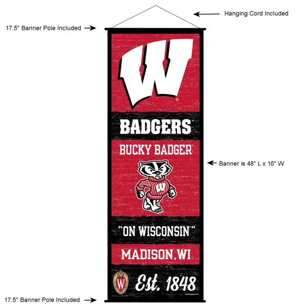 "This ""ready to hang"" University of Wisconsin Decor and Banner is made of polyester material, measures a large 17.5"" x 48"", offers screen printed athletic logos, and includes both top and bottom 3/4"" diameter plastic banner poles and hanging cord. Our University of Wisconsin D�cor and Banner is Officially Licensed by the selected college and NCAA."