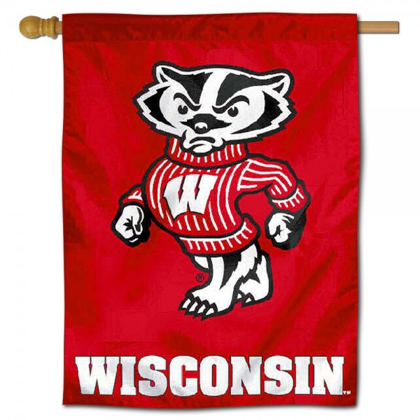 "University of Wisconsin Decorative Flag is constructed of polyester material, is a vertical house flag, measures 30""x40"", offers screen printed athletic insignias, and has a top pole sleeve to hang vertically. Our University of Wisconsin Decorative Flag is Officially Licensed by University of Wisconsin and NCAA."