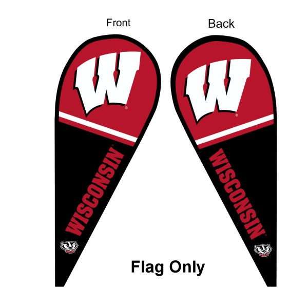 University of Wisconsin Feather Flag is 9 feet by 3 feet and is a tall 10' when fully assembled. The feather flag is made of thick polyester and is readable and viewable on both sides. The screen printed Wisconsin Badgers double sided logos are NCAA Officially Licensed and is Team and University approved.