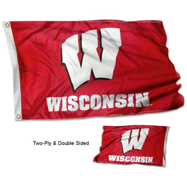 University of Wisconsin Flag measures 3'x5', is made of 2 layer 100% polyester, has quadruple stitched flyends for durability, and is readable correctly on both sides. Our University of Wisconsin Flag is officially licensed by the university, school, and the NCAA