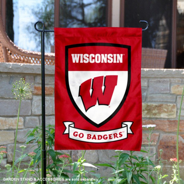 University of Wisconsin Go Badgers Shield Garden Flag is 13x18 inches in size, is made of 2-layer polyester, screen printed university athletic logos and lettering, and is readable and viewable correctly on both sides. Available same day shipping, our University of Wisconsin Go Badgers Shield Garden Flag is officially licensed and approved by the university and the NCAA.