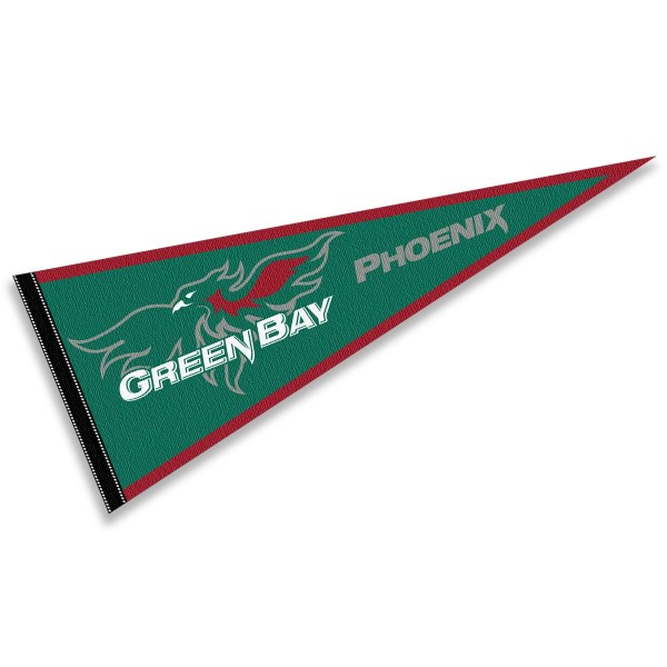 University of Wisconsin-Green Bay Phoenix Pennant consists of our full size sports pennant which measures 12x30 inches, is constructed of felt, is single sided imprinted, and offers a pennant sleeve for insertion of a pennant stick, if desired. This University of Wisconsin-Green Bay Phoenix Pennant Decorations is Officially Licensed by the selected university and the NCAA.