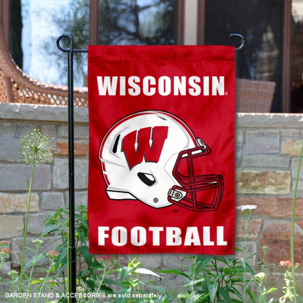 University of Wisconsin Football Helmet Garden Banner is 13x18 inches in size, is made of 2-layer polyester, screen printed University of Wisconsin athletic logos and lettering. Available with Same Day Express Shipping, Our University of Wisconsin Football Helmet Garden Banner is officially licensed and approved by University of Wisconsin and the NCAA.