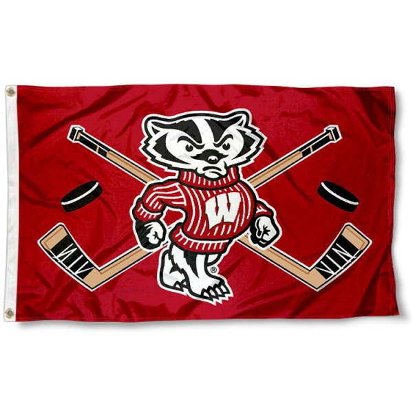 University of Wisconsin Hockey Flag measures 3'x5', is made of 100% poly, has quadruple stitched sewing, two metal grommets, and has double sided University of Wisconsin logos. Our University of Wisconsin Hockey Flag is officially licensed by the selected university and the NCAA