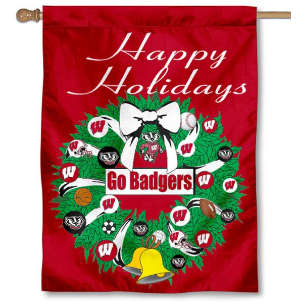 University of Wisconsin Holiday Flag is a decorative house flag, 30x40 inches, made of 100% polyester, Holiday NCAA team insignias, and has a top pole sleeve to hang vertically. Our University of Wisconsin Holiday Flag is officially licensed by the selected university and the NCAA.