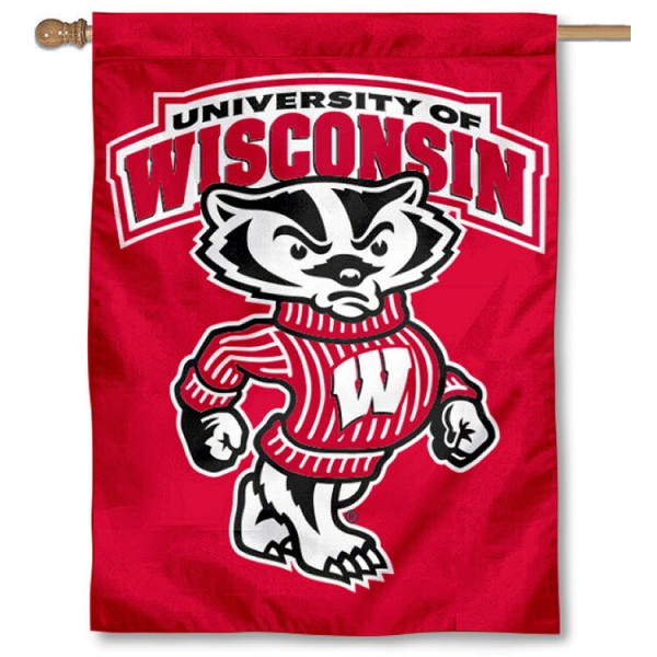 University of Wisconsin House Flag is a vertical house flag which measures 30x40 inches, is made of 2 ply 100% polyester, offers dye sublimated NCAA team insignias, and has a top pole sleeve to hang vertically. Our University of Wisconsin House Flag is officially licensed by the selected university and the NCAA