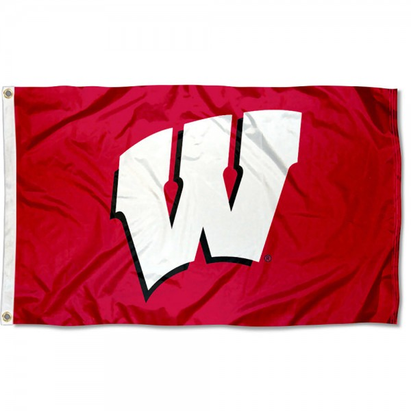 University of Wisconsin Large Flag measures 3'x5', is made of 100% poly, has quadruple stitched sewing, two metal grommets, and has double sided Wisconsin Badgers logos. Our University of Wisconsin Large Flag is officially licensed by the selected university and the NCAA