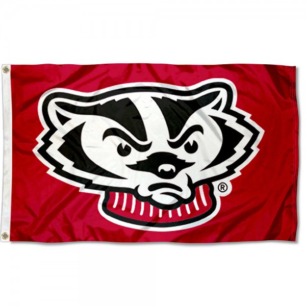 University of Wisconsin Mascot Flag measures 3'x5', is made of 100% poly, has quadruple stitched sewing, two metal grommets, and has double sided UW Badger logos. Our University of Wisconsin Mascot Flag is officially licensed by the selected university and the NCAA