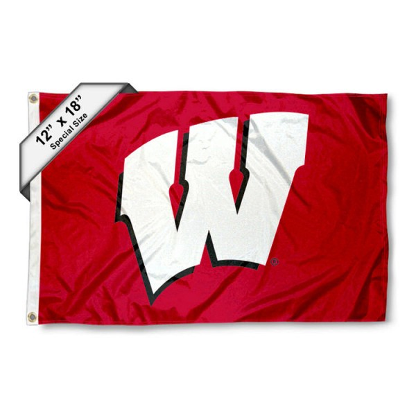 University of Wisconsin Mini Flag is 12x18 inches, polyester, offers quadruple stitched flyends for durability, has two metal grommets, and is double sided. Our mini flags for University of Wisconsin are licensed by the university and NCAA and can be used as a boat flag, motorcycle flag, golf cart flag, or ATV flag