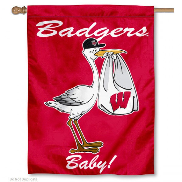 University of Wisconsin New Baby Flag measures 30x40 inches, is made of poly, has a top hanging sleeve, and offers dye sublimated UW Badgers logos. This Decorative University of Wisconsin New Baby House Flag is officially licensed by the NCAA.