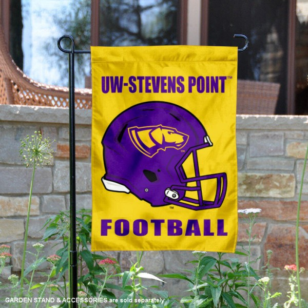 University of Wisconsin Stevens Point Football Helmet Garden Banner is 13x18 inches in size, is made of 2-layer polyester, screen printed University of Wisconsin Stevens Point athletic logos and lettering. Available with Same Day Express Shipping, Our University of Wisconsin Stevens Point Football Helmet Garden Banner is officially licensed and approved by University of Wisconsin Stevens Point and the NCAA.