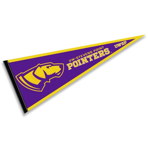 University of Wisconsin Stevens Point Pointers Pennant consists of our full size sports pennant which measures 12x30 inches, is constructed of felt, is single sided imprinted, and offers a pennant sleeve for insertion of a pennant stick, if desired. This University of Wisconsin Stevens Point Pointers Pennant Decorations is Officially Licensed by the selected university and the NCAA.