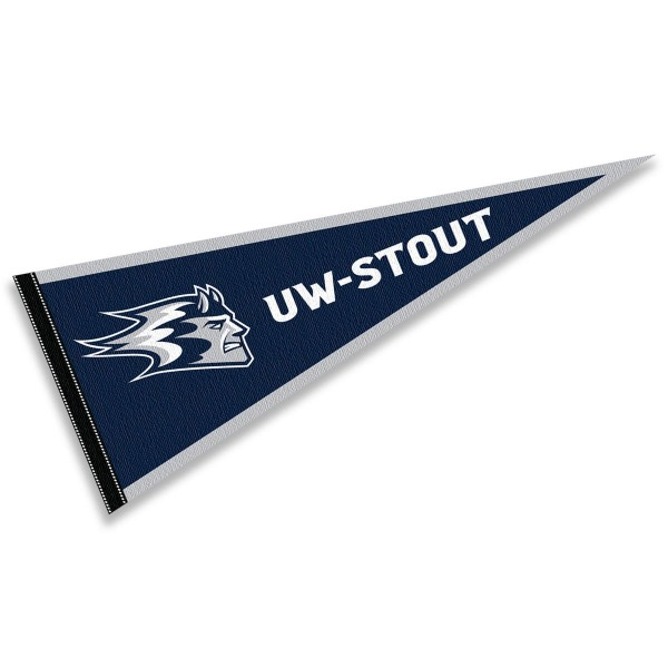 University of Wisconsin-Stout Blue Devils Pennant consists of our full size sports pennant which measures 12x30 inches, is constructed of felt, is single sided imprinted, and offers a pennant sleeve for insertion of a pennant stick, if desired. This University of Wisconsin-Stout Blue Devils Pennant Decorations is Officially Licensed by the selected university and the NCAA.