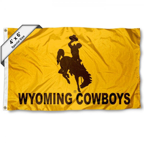 University of Wyoming 4x6 Flag measures a large 4x6 feet, is made of 100% polyester, offers quadruple stitched flyends, has two metal grommets, and offers screen printed NCAA athletic logos and lettering. Our University of Wyoming 4x6 Flag is Officially Licensed by the selected school and NCAA.