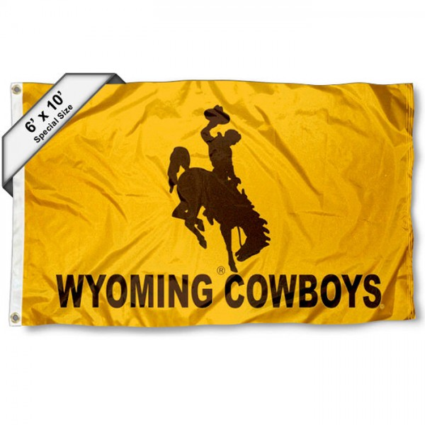 University of Wyoming 6'x10' Flag measures 6x10 feet, is made of thick polyester, has quadruple-stitched fly ends, and University of Wyoming logos are screen printed into the University of Wyoming 6'x10' Flag. This University of Wyoming 6'x10' Flag is officially licensed by the School and NCAA.