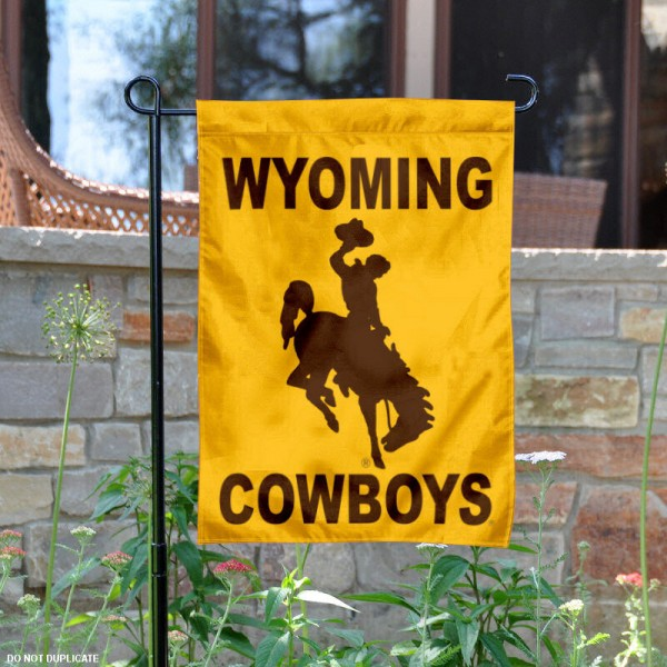 University of Wyoming Garden Flag is 13x18 inches in size, is made of 2-layer polyester, screen printed University of Wyoming athletic logos and lettering. Available with Same Day Express Shipping, Our University of Wyoming Garden Flag is officially licensed and approved by University of Wyoming and the NCAA.