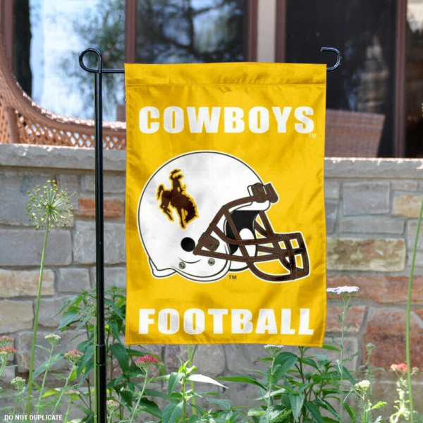 University of Wyoming Football Helmet Garden Banner is 13x18 inches in size, is made of 2-layer polyester, screen printed Cowboys athletic logos and lettering. Available with Same Day Express Shipping, Our University of Wyoming Football Helmet Garden Banner is officially licensed and approved by Cowboys and the NCAA.