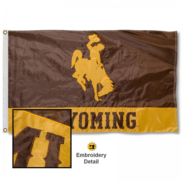 University of Wyoming Nylon Embroidered Flag measures 3'x5', is made of 100% nylon, has quadruple flyends, two metal grommets, and has double sided appliqued and embroidered University logos. These University of Wyoming 3x5 Flags are officially licensed by the selected university and the NCAA.