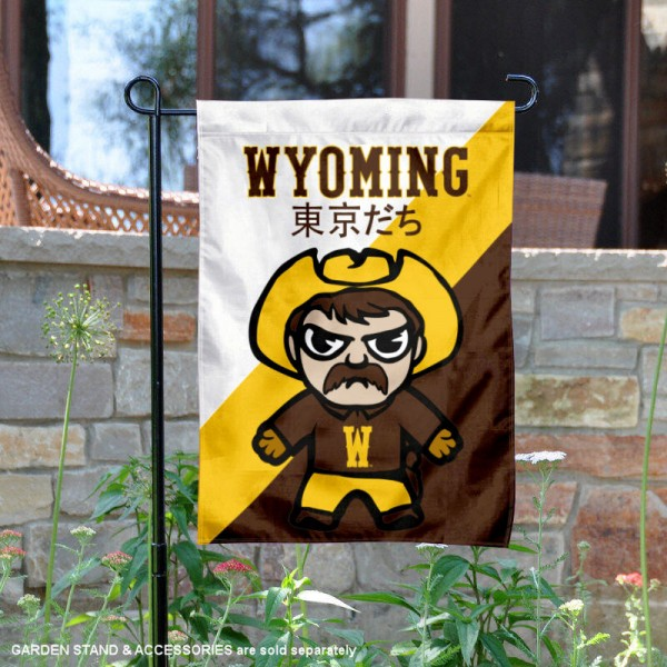 University of Wyoming Tokyodachi Mascot Yard Flag is 13x18 inches in size, is made of double layer polyester, screen printed university athletic logos and lettering, and is readable and viewable correctly on both sides. Available same day shipping, our University of Wyoming Tokyodachi Mascot Yard Flag is officially licensed and approved by the university and the NCAA.