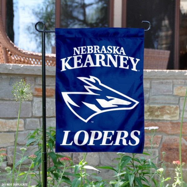 UNK Lopers Garden Flag is 13x18 inches in size, is made of 2-layer polyester, screen printed UNK Lopers athletic logos and lettering. Available with Same Day Express Shipping, Our UNK Lopers Garden Flag is officially licensed and approved by UNK Lopers and the NCAA.