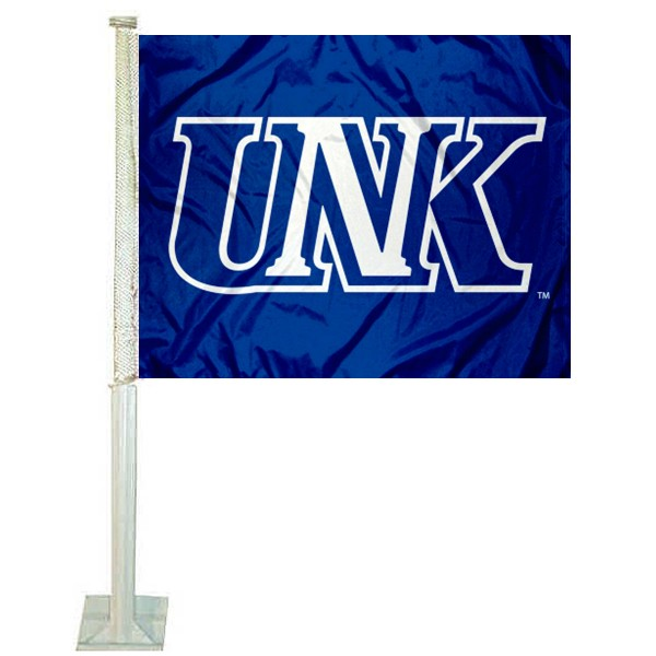 UNK Lopers Logo Car Flag measures 12x15 inches, is constructed of sturdy 2 ply polyester, and has screen printed school logos which are readable and viewable correctly on both sides. UNK Lopers Logo Car Flag is officially licensed by the NCAA and selected university.