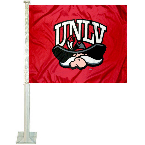 UNLV Car Flag measures 12x15 inches, is constructed of sturdy 2 ply polyester, and has dye sublimated school logos which are readable and viewable correctly on both sides. UNLV Car Flag is officially licensed by the NCAA and selected university.