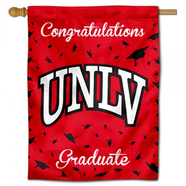 UNLV Runnin Rebels Congratulations Graduate Flag measures 30x40 inches, is made of poly, has a top hanging sleeve, and offers dye sublimated UNLV Runnin Rebels logos. This Decorative UNLV Runnin Rebels Congratulations Graduate House Flag is officially licensed by the NCAA.