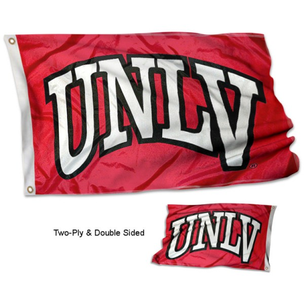 UNLV Double Sided 3x5 Flag measures 3'x5', is made of 2 layer 100% polyester, has quadruple stitched flyends for durability, and is readable correctly on both sides. Our UNLV Double Sided 3x5 Flag is officially licensed by the university, school, and the NCAA.
