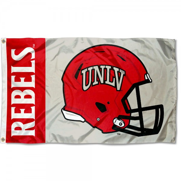UNLV Runnin Rebels Football Helmet Flag measures 3x5 feet, is made of 100% polyester, offers quadruple stitched flyends, has two metal grommets, and offers screen printed NCAA team logos and insignias. Our UNLV Runnin Rebels Football Helmet Flag is officially licensed by the selected university and NCAA.