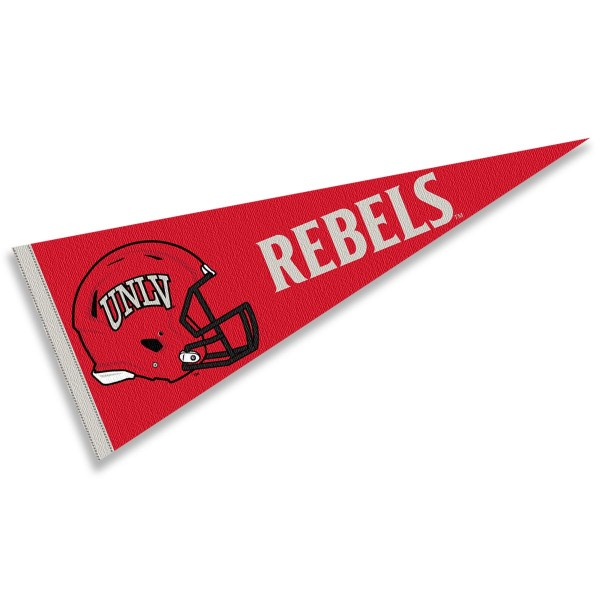 UNLV Runnin Rebels Helmet Pennant consists of our full size sports pennant which measures 12x30 inches, is constructed of felt, is single sided imprinted, and offers a pennant sleeve for insertion of a pennant stick, if desired. This UNLV Runnin Rebels Pennant Decorations is Officially Licensed by the selected university and the NCAA.