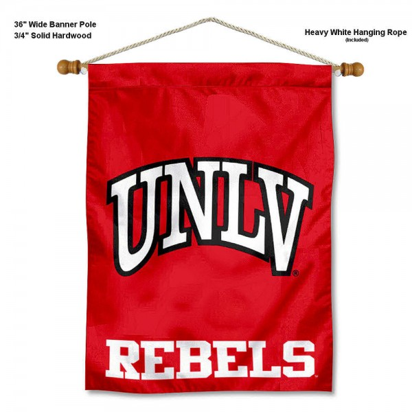 "UNLV Wall Banner is constructed of polyester material, measures a large 30""x40"", offers screen printed athletic logos, and includes a sturdy 3/4"" diameter and 36"" wide banner pole and hanging cord. Our UNLV Wall Banner is Officially Licensed by the selected college and NCAA."