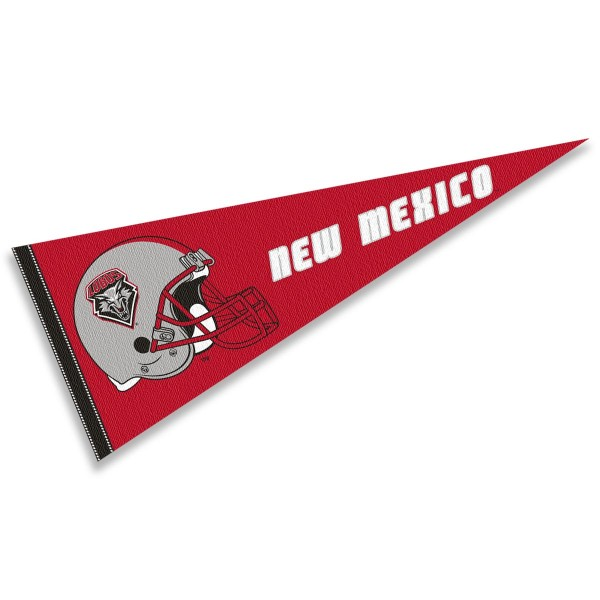 UNM Lobos Helmet Pennant consists of our full size sports pennant which measures 12x30 inches, is constructed of felt, is single sided imprinted, and offers a pennant sleeve for insertion of a pennant stick, if desired. This UNM Lobos Pennant Decorations is Officially Licensed by the selected university and the NCAA.
