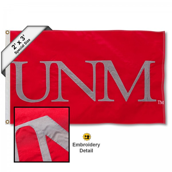 UNM Lobos Small 2'x3' Flag measures 2x3 feet, is made of 100% nylon, offers quadruple stitched flyends, has two brass grommets, and offers embroidered UNM Lobos logos, letters, and insignias. Our UNM Lobos Small 2'x3' Flag is Officially Licensed by the selected university.